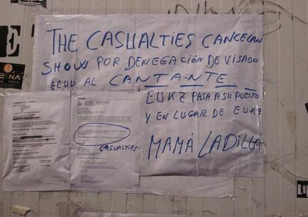 Lumbreiras - Los Casualties cancelan