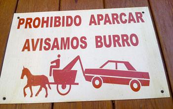 Prohibido aparcar: burro